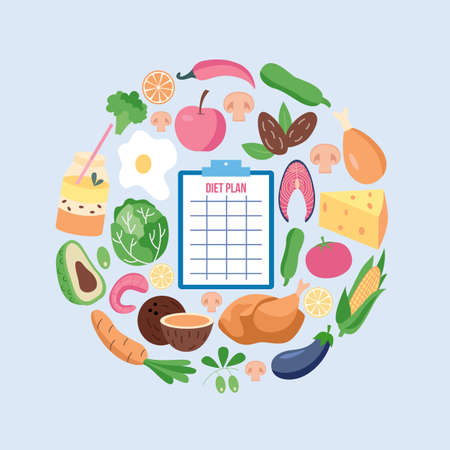Diet menu planning concept with diary check list and fresh vegetables and fruits flat vector illustration isolated on background. Healthy nutrition and weight losing.