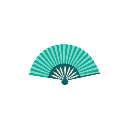 Traditional asian turquoise blue cartoon icon or sign, flat vector illustration isolated on white background. Oriental tourist souvenir and summer women accessory.