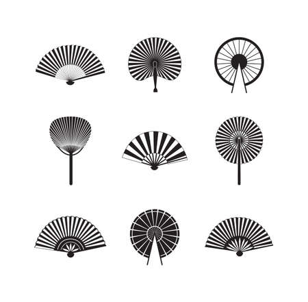 Black Asian fan icon set isolated on white background - different types of Japanese or Chinese traditional decorations in various shapes. Flat vector illustration. Vektoros illusztráció