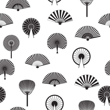 Seamless pattern with oriental asian fans black graphic icons, vector illustration on white background. Endless texture with womens fashion ancient accessories.