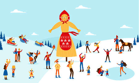 Banner for Russian Shrovetide or Maslenitsa spring holiday with people celebrating holiday around shrove scarecrow at winter snowy background, flat vector illustration. Illusztráció