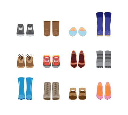 Set of cartoon fashion boots and shoes icons, flat vector illustration isolated on white background. Walking casual and festive footwear symbols collection.