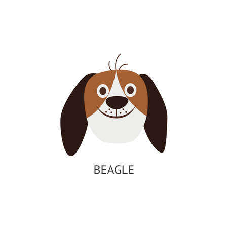 Head and face of a funny beagle dog with long ears, breed concept. Dog, pet and domestic animal icon. Isolated cartoon flat vector illustration of beagle face.