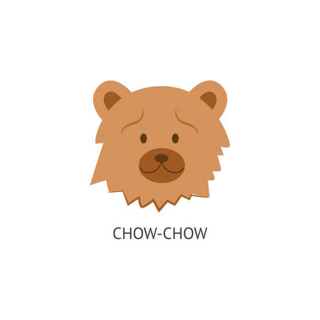 The head with the face of a fluffy and woolly dog Chow Chow. Isolated vector flat cartoon illustration of a dog breed of chow chow.