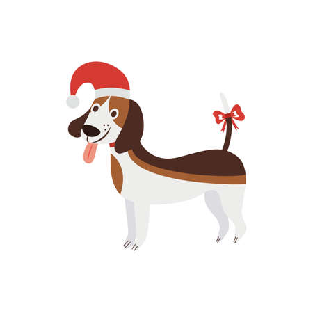 Christmas beagle - cute cartoon dog wearing a Santa hat and smiling. Isolated brown pet animal with decorated tail standing in holiday costume - vector illustration.