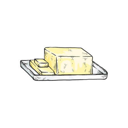 Block of yellow butter - isolated sketch drawing on white background. Hand drawn dairy food in rectangle cube shape cut into smaller pieces - vector illustration.