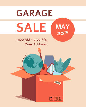 A poster and banner for a local garage sale event with a box and globes, a guitar and a pot of flowers. Isolated flat vector illustration of banner for garage sale.