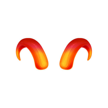 Devils or goat shape red and gold horns icon, 3d realistic vector illustration isolated on white background. Satan Evil symbol or sign for Halloween prints.