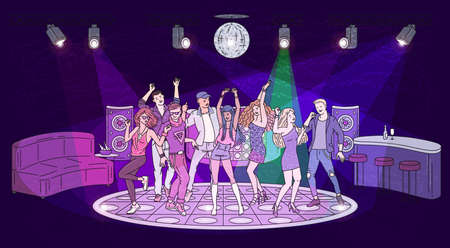 Night club interior background with dance floor and people characters dancing disco sketch cartoon vector illustration. Nightlife and discotheque party layout.
