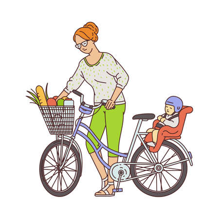 Cartoon mother standing near bike with groceries in basket and child on baby seat - woman putting food from grocery shopping. Flat isolated vector illustration