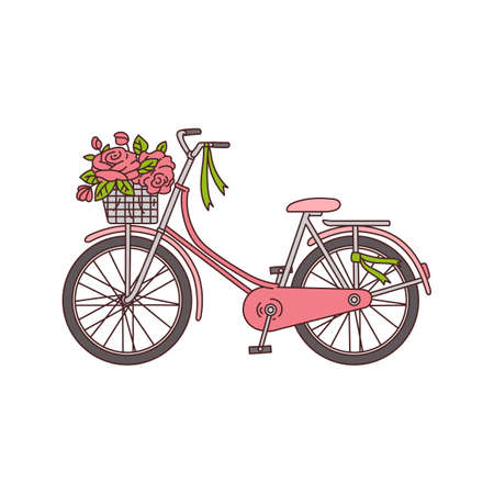 Bicycle with basket full of blooming flowers icon sketch vector illustration isolated on white background. Romantic spring or summer vacation travel symbol. Vector Illustratie