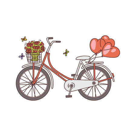 Vintage bicycle or bike with flowers and balloons, sketch cartoon vector illustration isolated on white background. Romantic summer travel or valentines day symbol.