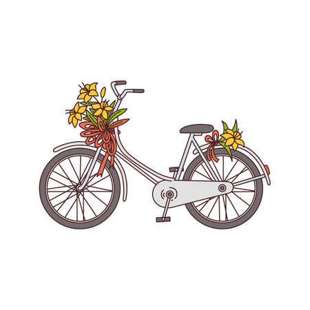Romantic image of bicycle with flowers sketch cartoon vector illustration isolated on white background. Bike with wildflowers icon or symbol for spring and summer topic.