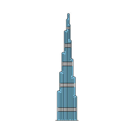 Famous Dubai skyscraper icon isolated on white background - modern blue striped building in flat line art style. Landmark UAE tourist attraction - vector illustration.