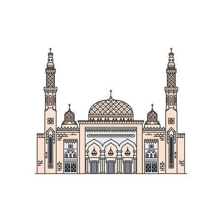 The famous mosque in Arab Emirates icon in sketch cartoon style, vector illustration isolated on white background. Tourist landmark of Dubai city architecture. Ilustração