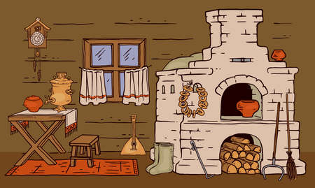 Masonry stone stove in russian style in wooden rustic cottage house, vector sketch cartoon illustration. Folklore kitchen rural interior and furnishing background.