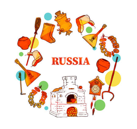 Welcome to Russia poster or banner with russian culture items such as bricks stove, samovar kettle and balalaika, vector illustration isolated on white background.