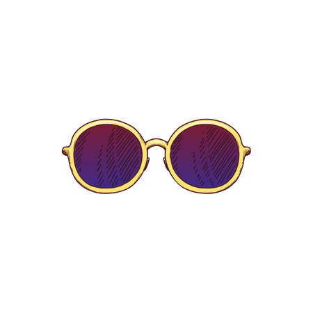 Extravagant sunglasses with round lenses icon, vector sketch doodle illustration isolated on white background. Fashion outlook accessory in rock star style.
