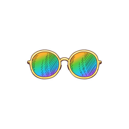 Colorful holographic sunglasses with round circle frames - isolated drawing sticker on white background. Flat vector illustration of vintage summer accessory.