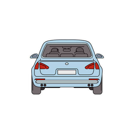 Light blue car from back view - cartoon drawing of empty automobile vehicle seen from behind isolated on white background, flat vector illustration