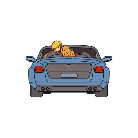 Cartoon couple sitting inside blue car with open roof seen from back view - young man and woman in drive through. Flat vector illustration isolated on white background.