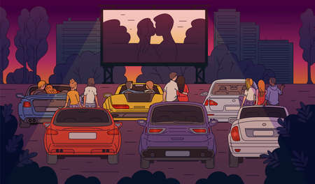 Open-air cinema with people characters watching movie on parking background, sketch cartoon vector illustration. Drive-In theatre big screen and parked cars.