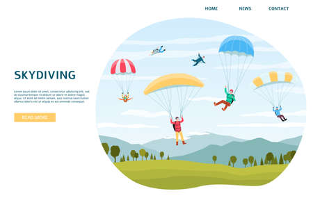 Skydiving horizontal web banner template with extreme sports sportsmen jumping with parachutes or paraplanners, flat vector illustration isolated on white background. Vetores