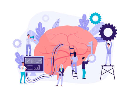 Neuromarketing technology concept with people cartoon characters analyzing customer behavior and developing marketing strategy, flat isolated vector illustration. Ilustración de vector