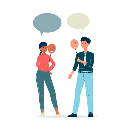 Sad man and woman holding emotion masks with smiling face hiding depression. Cartoon people with speech bubble faking happiness - flat isolated vector illustration