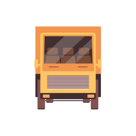 Flat yellow freight truck icon isolated on white background - cargo delivery transport seen from front view. Modern lorry with nobody on three-person cabin, vector illustration