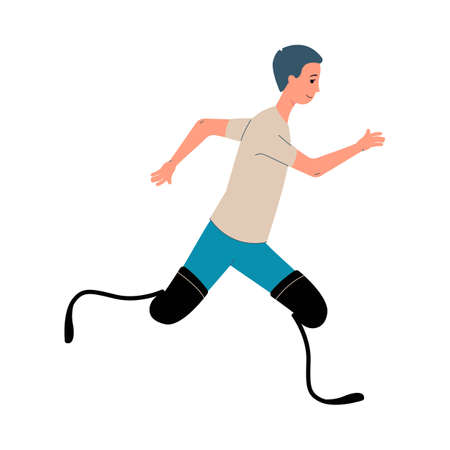 Disabled man with legs prosthesis taking part in run competition, flat vector illustration isolated on white background. Handicapped people active lifestyle.