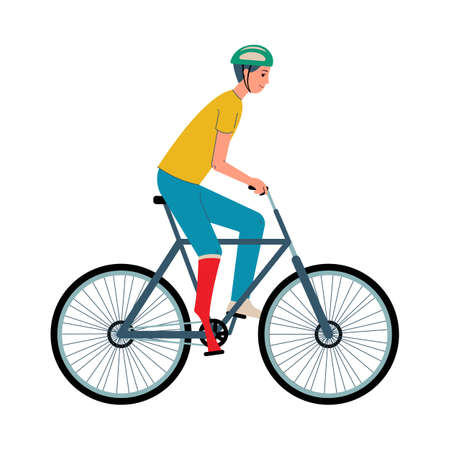 Special ability games male disabled athlete or sportsman with limb prosthesis cartoon characters riding bicycle, flat vector illustration isolated on white background.