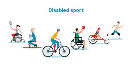 Disabled athletes characters set in wheelchair and on limb prosthesis training outdoor , flat vector illustration isolated on white background. Handicapped people sports.