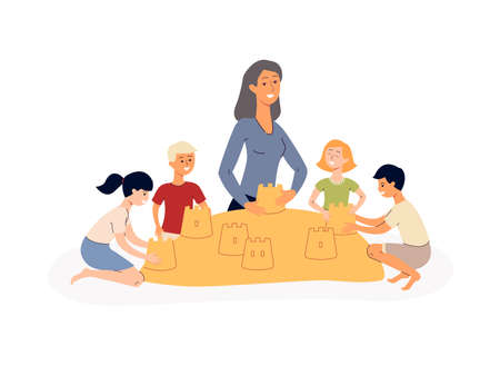 Group of little children and teacher educator in kindergarten cartoon characters playing with sand in sandbox, flat vector illustration isolated on white background. Vecteurs