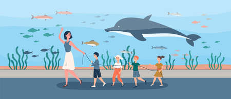 A group of preschool children with a woman teacher on excursion in an aquarium or oceanarium. Flat vector cartoon illustration.