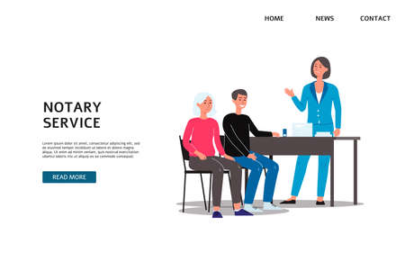 Notary services agency banner template with people cartoon characters setting legal formalities with lawyer, flat vector illustration isolated on white background.