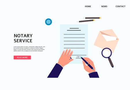 Notary service banner template with hands of lawyer busy with execution of documents seal and signature on papers, flat vector illustration isolated on blue background. Stock Illustratie