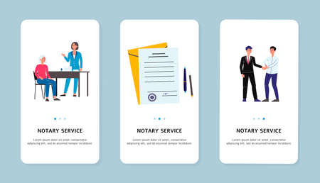Notary services application templates on mobile screens set flat vector illustration isolated on white background. Legal assistance and notarized documentation. Illusztráció