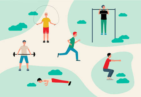 Sport lovers doing exercises in park - cartoon men training in outdoor space lifting barbell, doing pushups, sit ups and pull ups. Flat vector illustration. Illustration