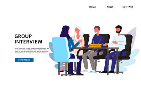Meeting of HR managers with a female candidate. A group of people at a table interviewing a woman looking for work. Vector flat illustrations. Landing page template.