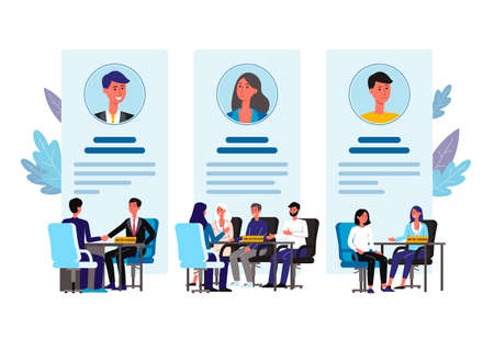 HR interview of different candidates - banner poster with cartoon business people behind desk interviewing job applicants. Flat isolated vector illustration.
