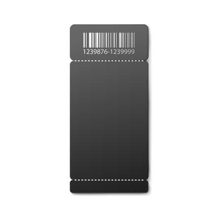 Black empty paper ticket mockup with barcode entrance to cinema, airplane or some entertaining action, realistic vector illustration isolated on white background.