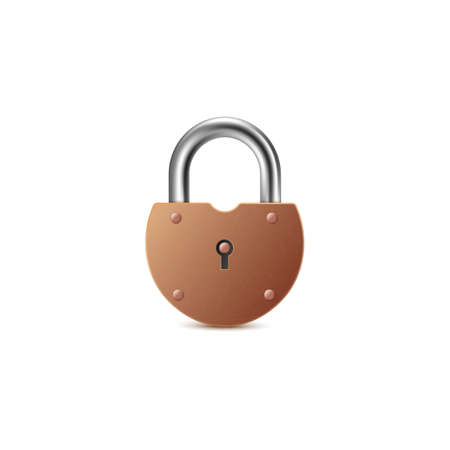 Closed vintage heavy brass house or barn door padlock, realistic vector mockup illustration isolated on white background. Safety lock template a symbol of protection.