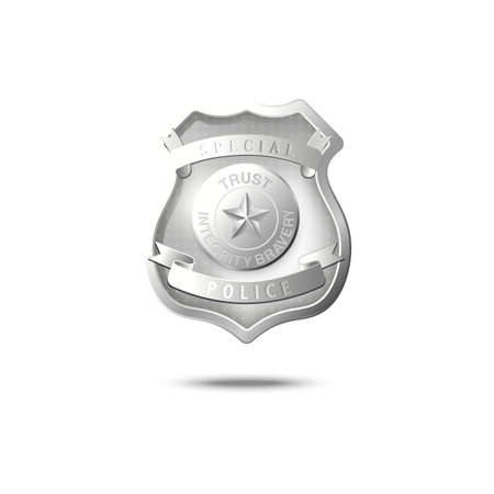 Silver police badge mockup floating in air, realistic law enforcement emblem with words Trust, Integrity and Bravery on shield shape metal plate. Vector illustration.
