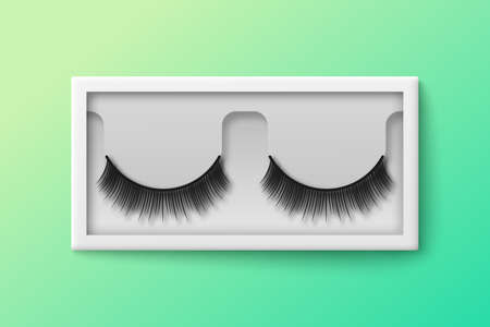 Feminine false lashes in plastic box template, realistic vector illustration on color background. Long fake lashes for fashion makeup in transparent container mockup. Vettoriali