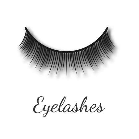 Curving women long false eyelashes template, realistic vector illustration isolated on white background. Beauty procedure of eyelashes extension element.