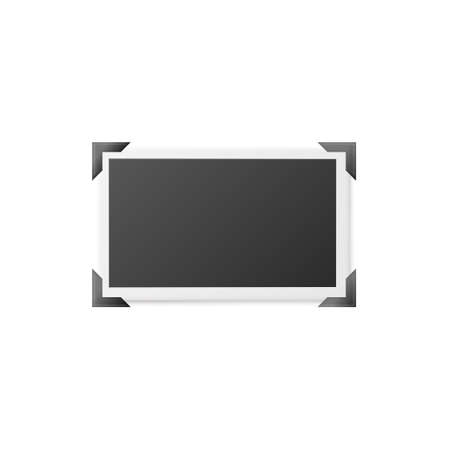 Blank horizontal photography frame attached on corners, realistic mockup vector illustration isolated on white background. Photo album page with picture template.