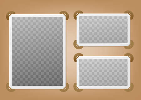 Realistic photo album page with frames. Design for your photos. Vector template.