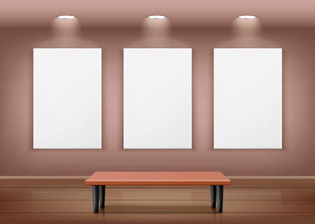 Realistic 3D vector illustration of an art gallery showroom with three empty frames on the wall, a bench and a wooden floor. Interior with empty paintings and lighting. 矢量图像