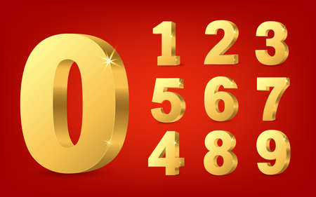 Vector set of 3d numbers. Gold 3D volumetric numbers. Illustration isolated on a red background.